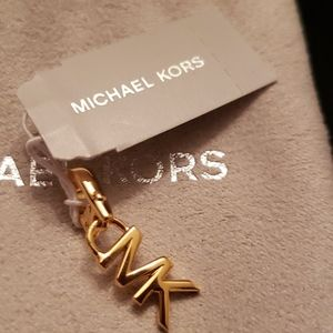 Michael Kors Nwt Gold Sterling MK Logo Charm